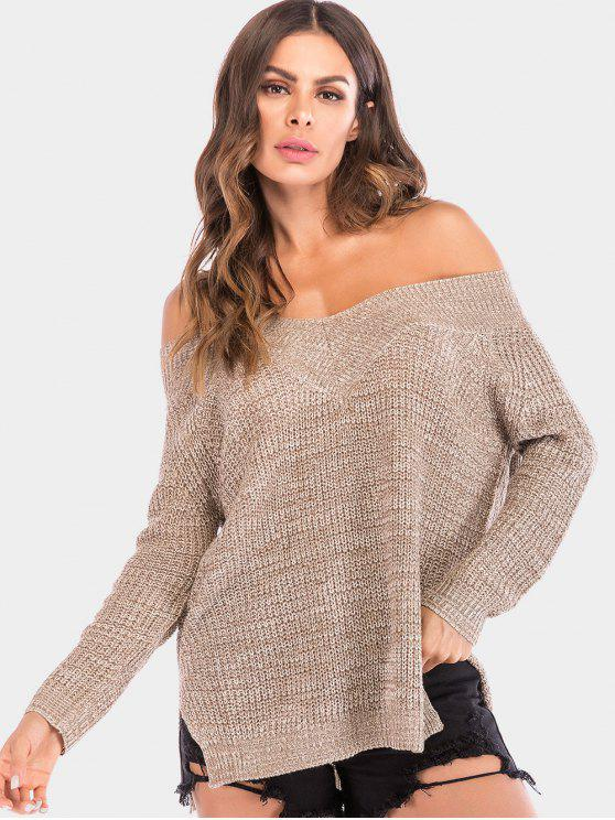 ladies Off The Shoulder Chunky Knit Sweater - TAN XL