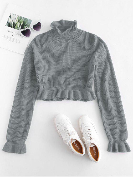 Solid Color Ruffles Crop Sweater - اللون الرمادي L