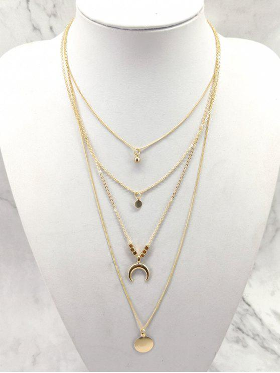new Multilayered Moon and Round Shape Pendant Necklace - GOLD