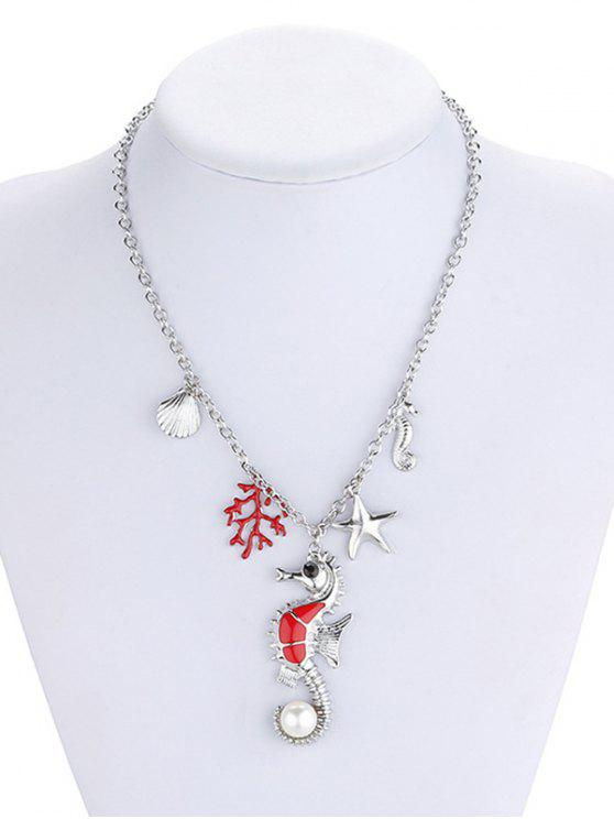 shops Marine Animal Coral Faux Pearl Necklace - SILVER