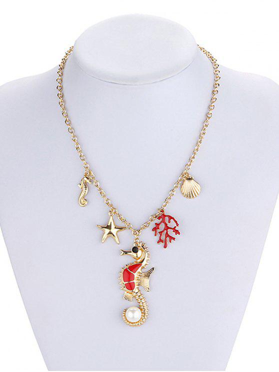 lady Marine Animal Coral Faux Pearl Necklace - GOLD