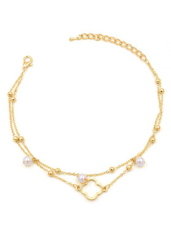 trendy Hollow Clover Shape Layered Anklet Chain - GOLD