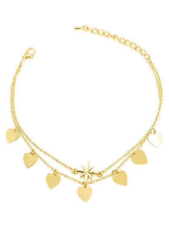 sale Layered Heart Tassel Design Chain Anklet - GOLD