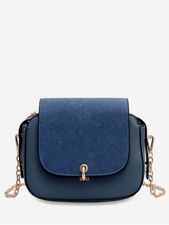 shop PU Leather Design Solid Color Crossbody Bag - BLUEBERRY BLUE