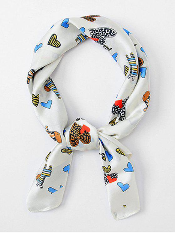 shop Multifunctional Cartoon Heart Printing Scarf - WHITE