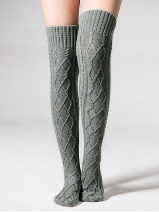 hot Solid Color Knitted High Knee Socks - GRAY