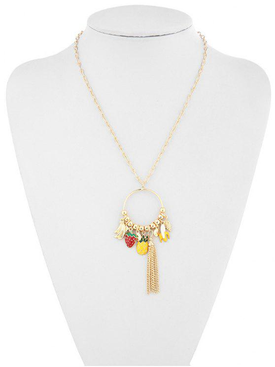 outfit Hollow Strawberry Pineapple Banana Necklace - GOLD