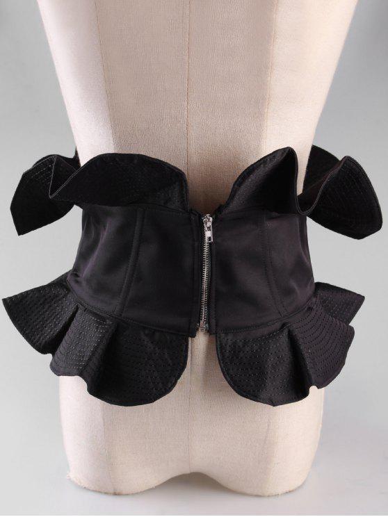 shops Vintage Zipper Elastic Wide Waist Belt - BLACK