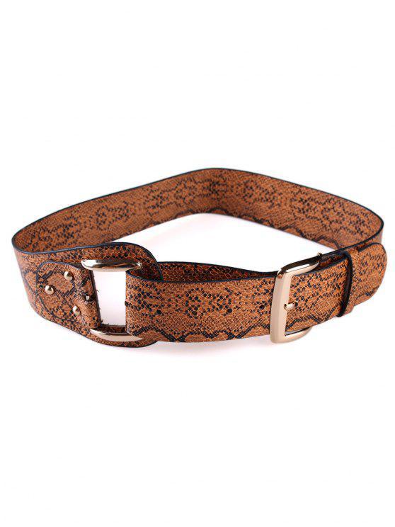 women Stylish Snake Print Faux Leather Waist Belt - BROWN