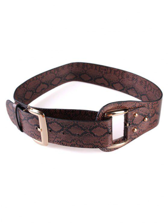 outfits Stylish Snake Print Faux Leather Waist Belt - COFFEE