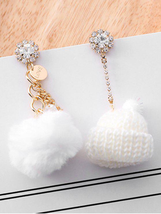Boucles d'Oreilles Asymétriques Chapeau Tricoté Design en Strass - Blanc