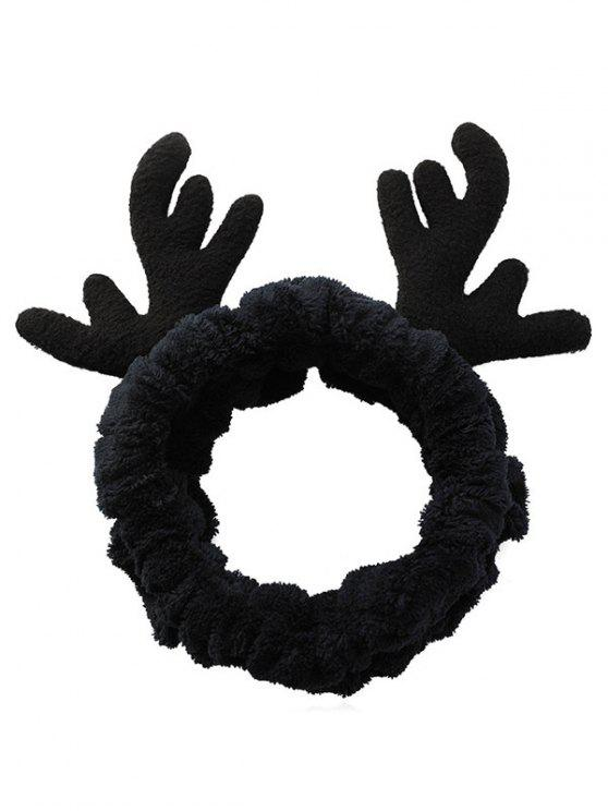 best Christmas Antler Printed Fluffy Hair Band - BLACK