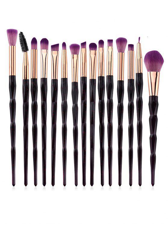 buy Professional 15 Pcs Purple Fiber Hair Cosmetic Brush Set - RED