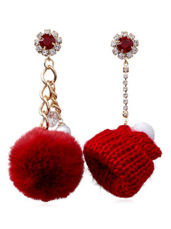 hot Asymmetry Knitted Hat Design Rhinestone Earrings - RED