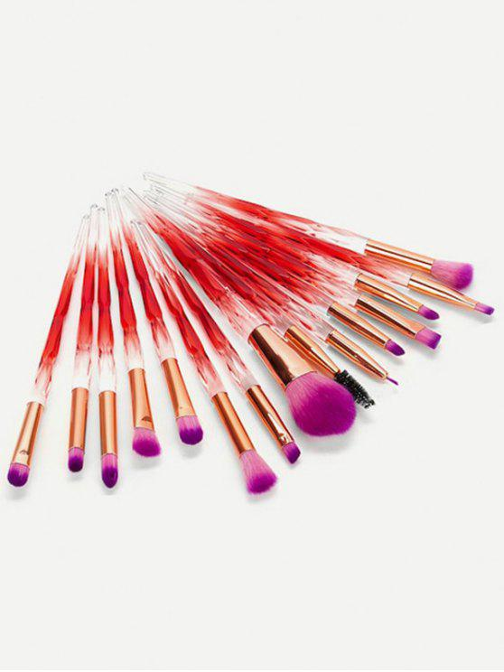 shop Cosmetic 15 Pcs Gradient Red Handle Soft Hair Makeup Brush Set - RED WINE