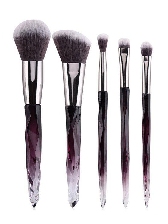 latest 5 Pcs Purple Handle Soft Fiber Hair Makeup Brush Set - MULTI