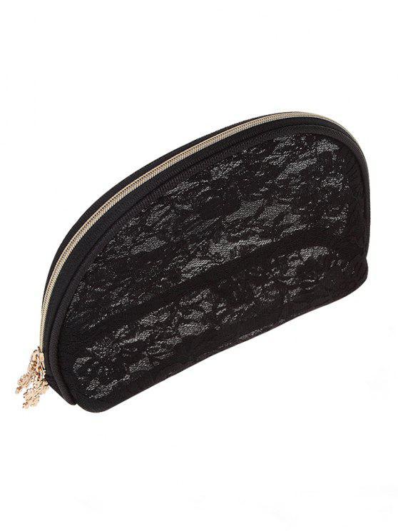 unique Multifunctional Floral Lace Zipper Cosmetic Bag - BLACK