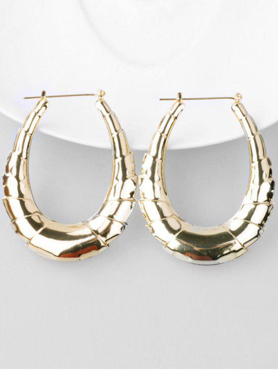 women Bamboo Alloy Hoop Drop Earrings - GOLD