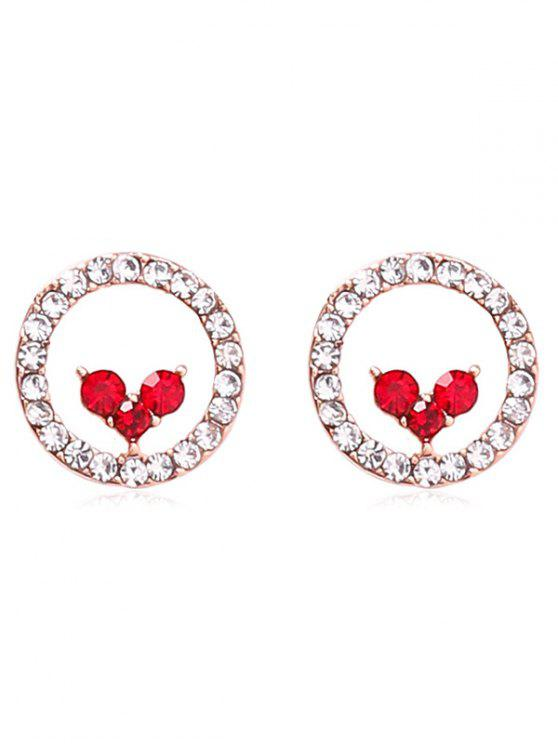Fashion Sparkly Heart Shape Artificial Crystal Earrings Red