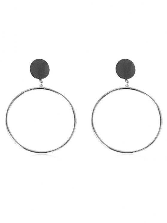 unique Alloy Circle Shape Hoop Earrings - SILVER
