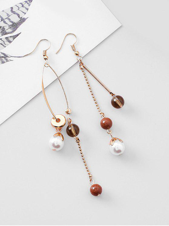 womens Bohemian Style Ball Decoration Hook Earrings - GOLD