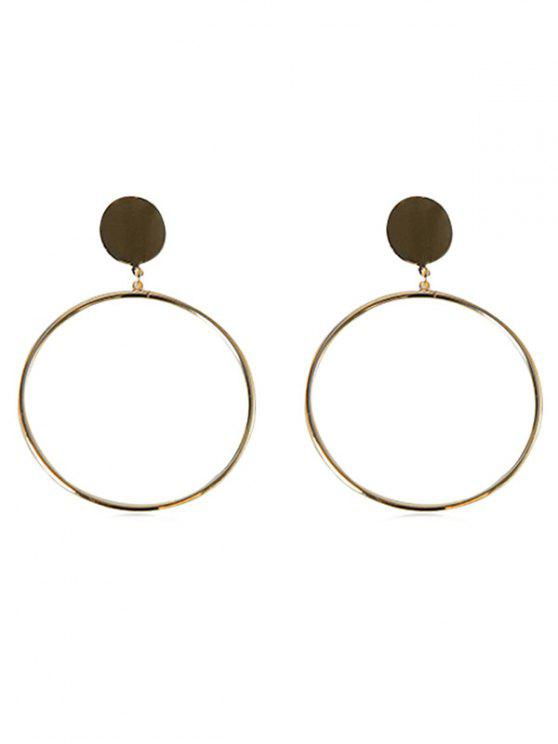 lady Alloy Circle Shape Hoop Earrings - GOLD