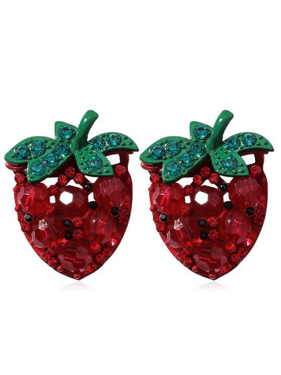 outfits Strawberry Pattern Artificial Crystal Earrings - RED