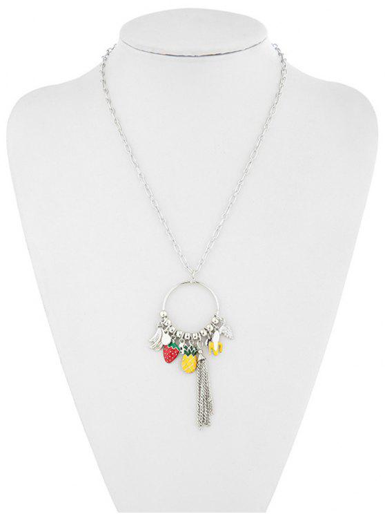 buy Hollow Strawberry Pineapple Banana Necklace - SILVER