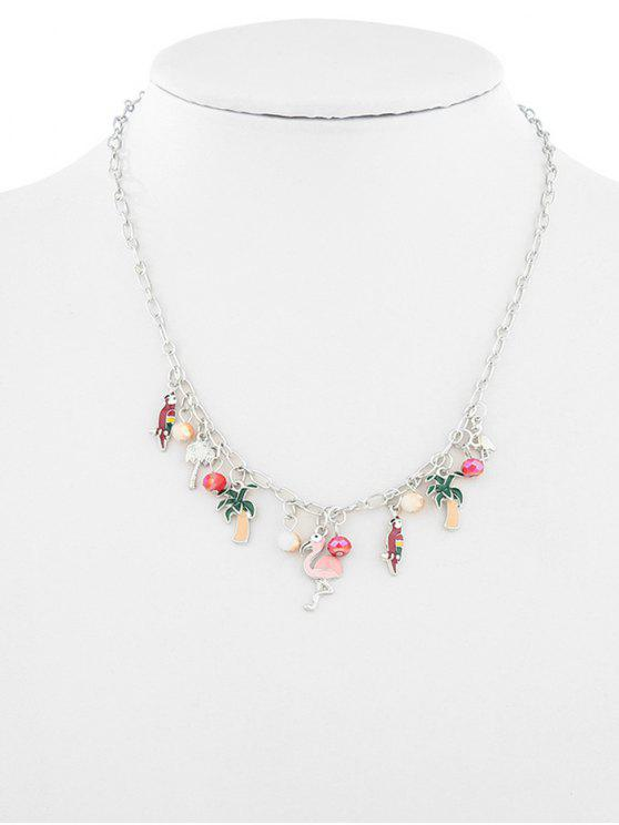 women's Fruit Plant Flamingo Design Ball Necklace - SILVER
