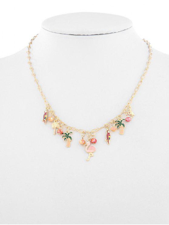 lady Fruit Plant Flamingo Design Ball Necklace - GOLD