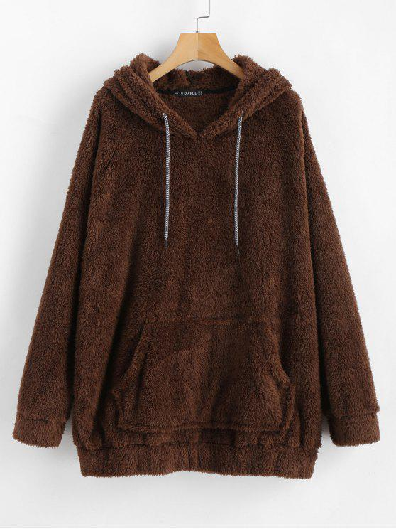 womens Kangaroo Pocket Plain Faux Fur Hoodie - COFFEE M