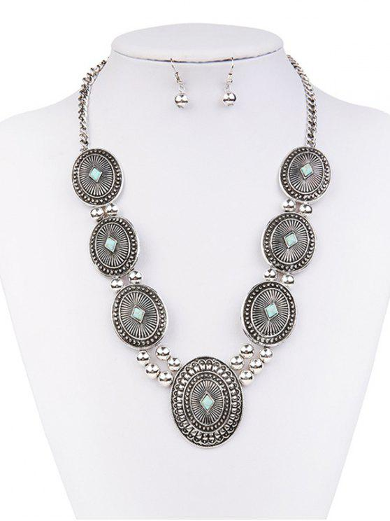 online Faux Turquoise Sweater Chain Ball Earrings - SILVER