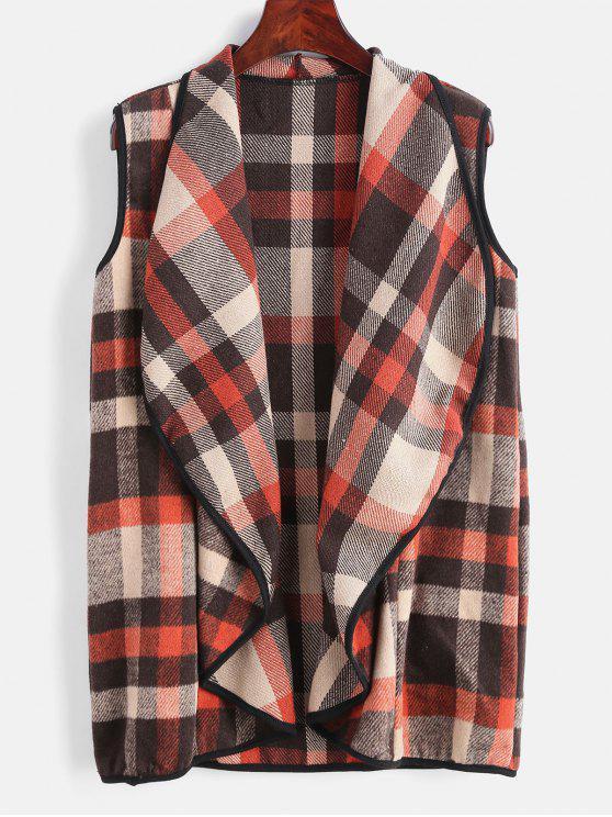 Chaleco de cuello de manta de tela escocesa - Multicolor S