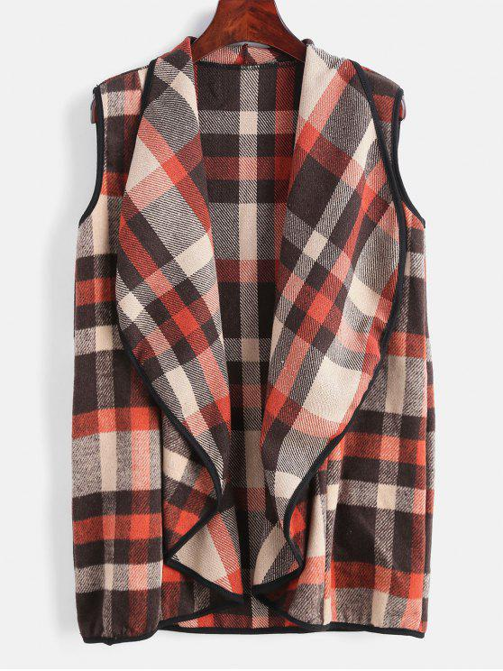 women's Plaid Shawl Collar Waistcoat - MULTI S