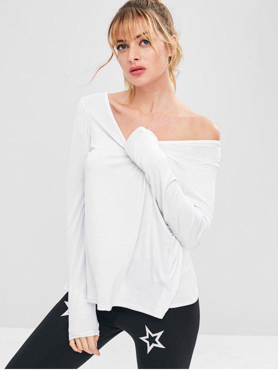 Sport Backless Slit Sportliches T-Shirt - Weiß L