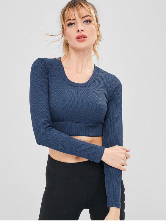 ladies Sport Ribbed Crop Athletic Tee - DARK SLATE BLUE M