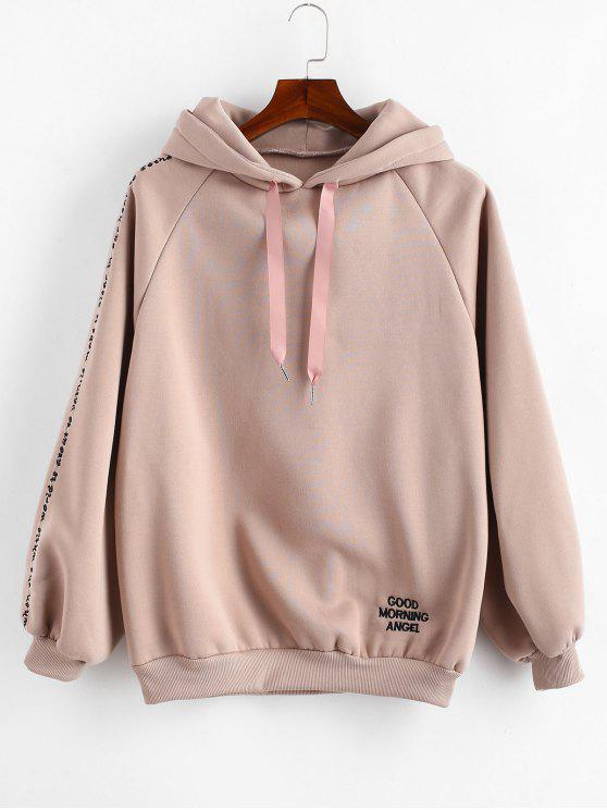 chic Embroidered Fleece Lined Oversized Hoodie - LIPSTICK PINK XL