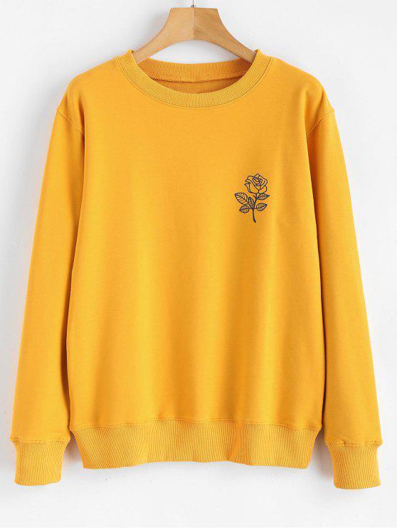 best Floral Print Graphic Pullover Sweatshirt - MUSTARD M