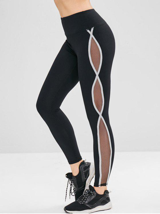 ladies Mesh Panel Contrast Sport Yoga Leggings - BLACK L