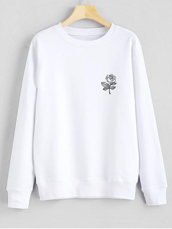 Sweat-shirt Graphique Floral Imprimé - Blanc M