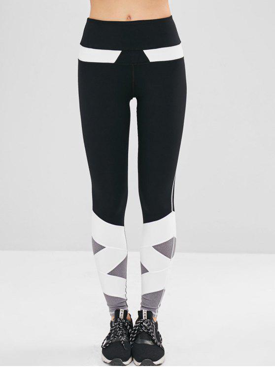 fancy Color Block Athletic Gym Leggings - BLACK L