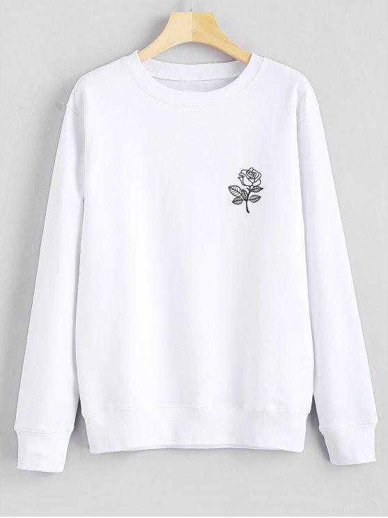 Sweat-shirt Graphique Floral Imprimé - Blanc L