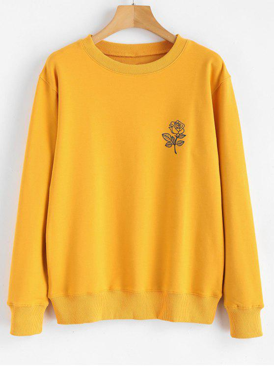 chic Floral Print Graphic Pullover Sweatshirt - MUSTARD XL
