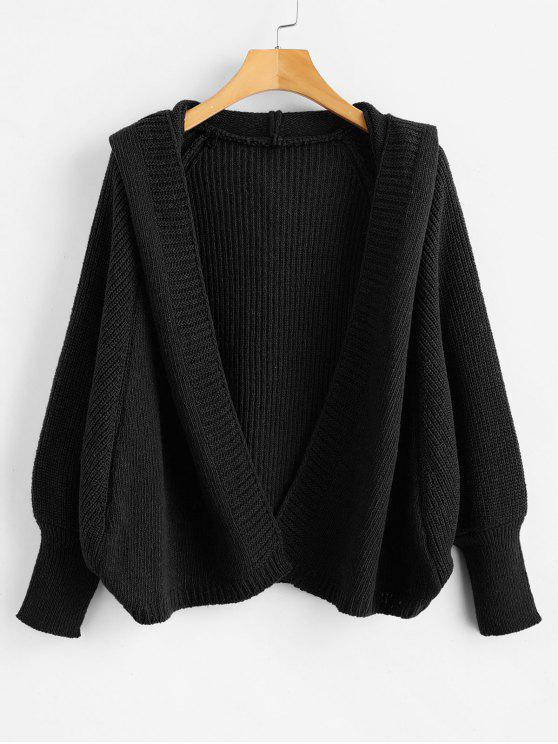 new Hooded Open Front Batwing Cardigan - BLACK ONE SIZE
