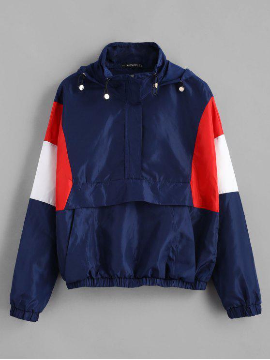 outfit ZAFUL Half Zip Color Block Hoodie - DEEP BLUE M