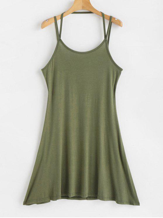 ladies Mini Strappy Slip Dress - ARMY GREEN XL