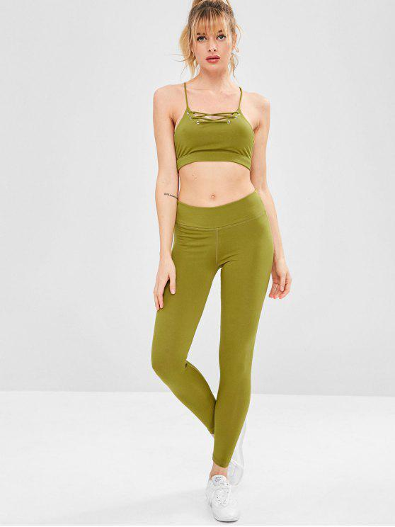 women's Strappy Gym Bra and Leggings Set - YELLOW GREEN L