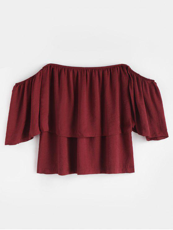 lady Ruffle Off The Shoulder Top - RED WINE L