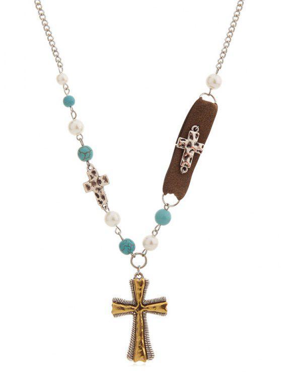 online Cross Shape Pendant Chain Necklace - GOLD