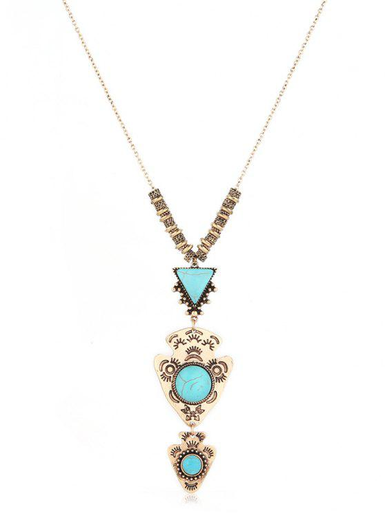 latest Geometric Layered Long Sweater Necklace - GOLD